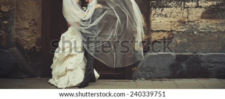 wedding couple hugging.standing together - stock photo