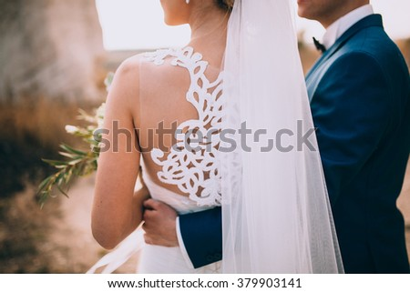 wedding couple in a beautiful dress posing against the backdrop of the rock - stock photo