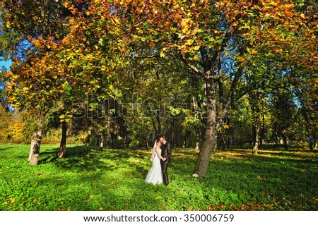 Wedding couple in autumn forest