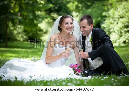 wedding couple in the park - stock photo