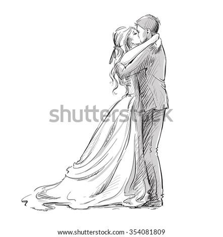 Wedding couple kiss. Newlywed.  - stock photo