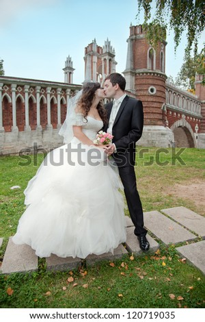 Wedding couple kissing on the background of wall and trees - stock photo