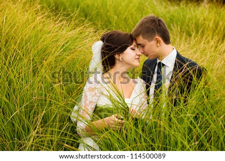 wedding couple kissing outdoors - stock photo