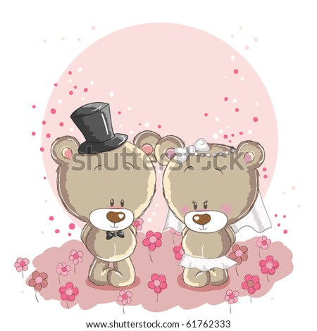 Wedding couple - little cute bears - also available in vector file