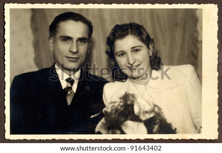 wedding, couple - photo scan - about 1950 - stock photo