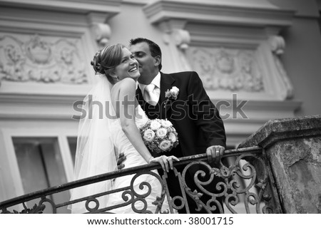 wedding couple retro style - stock photo