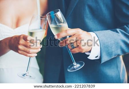 Wedding Couple Toast  - stock photo