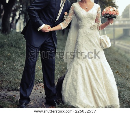 Wedding couple together spending great time.  - stock photo