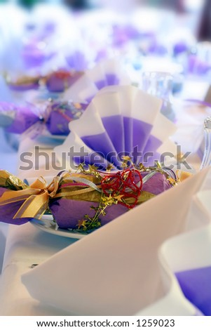 wedding cracker or bonbon. Could be a birthday party. - stock photo