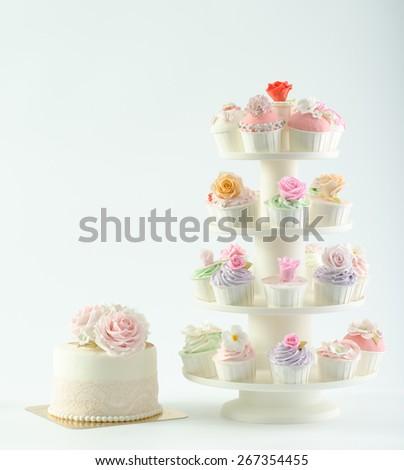 Wedding cupcakes - stock photo