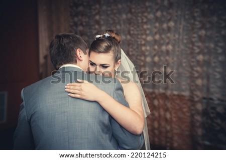 wedding dance of bride and groom. First wedding dance of newlyweds. wedding dance of bride and groom - stock photo