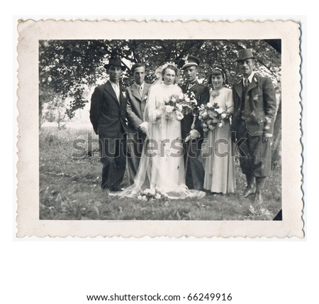 wedding day about 1940, slovakia. German commander and his bride - stock photo