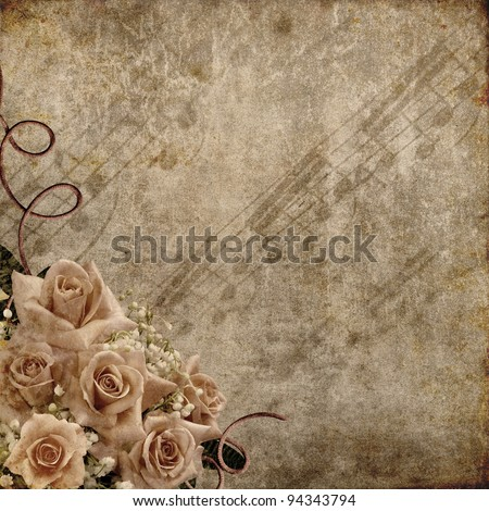 Wedding Day background with roses and notes - stock photo