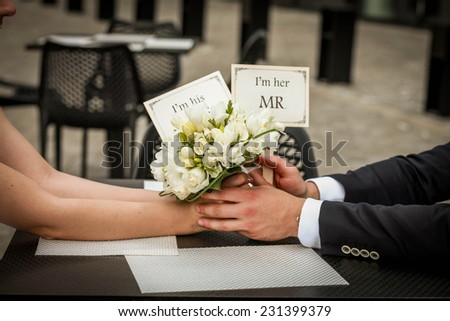 Wedding day. Beautiful white wedding bouquet - stock photo