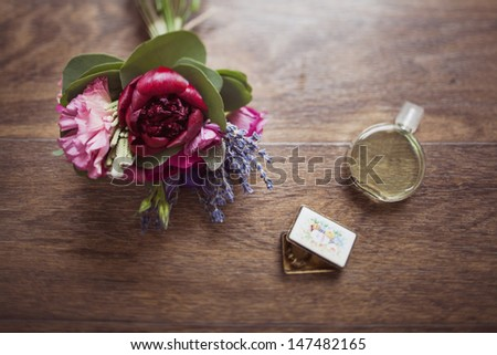 Wedding Day Bouquets and Tokens - stock photo