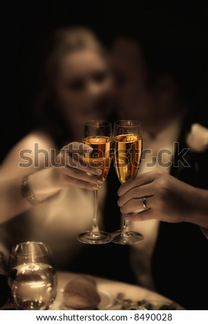 wedding day - bride and  groom - toasting