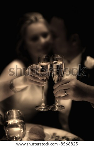 wedding day - bride and groom - toasting - stock photo