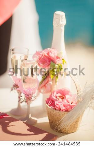 Wedding day decoration shabby chic, wedding flowers rustic style, retro wedding, marriage decor, hand made decoration, wedding background, Beautiful wedding decorations, soft focus at sunset - stock photo