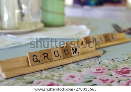 wedding day. Groom in reception tent. USA, Nebraska.  - stock photo