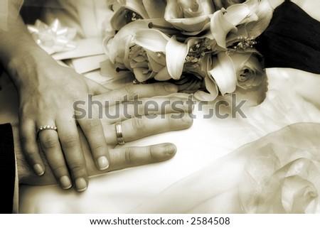 Wedding day hands - stock photo