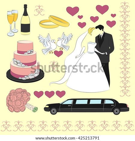 Wedding day icon set. . Love- heart- rings -limuzin- cake and other