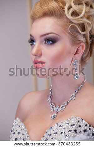 Wedding day make up, portrait shot  - stock photo