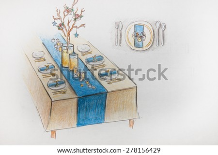 wedding day organization, wedding table, marriage decoration, watercolor and pencil drawing, celebration creative idea, table setting, creative wedding solution, wedding design, restaurant  interior - stock photo