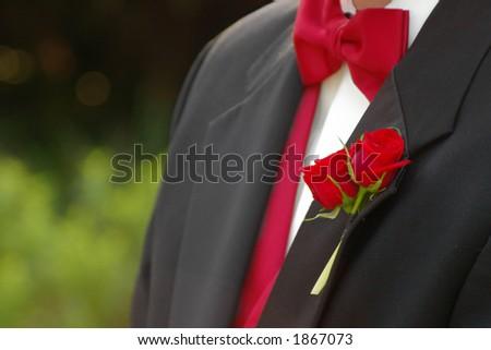 Wedding day tuxedo - stock photo