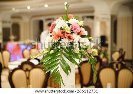 wedding decor at restaurant with all beauty and flowers - stock photo