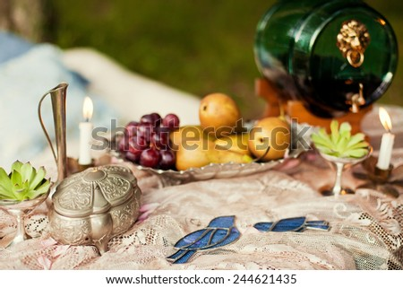 wedding decor with flowers and fruits - stock photo