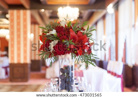 Wedding decorated with flowers and fruits, shallow depth of the displayed spherical space and beautiful bokeh