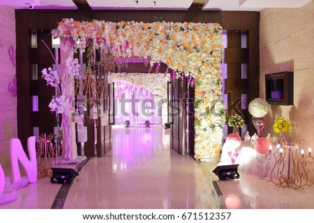 Wedding Decoration Element Lights Entrance Gate Stock
