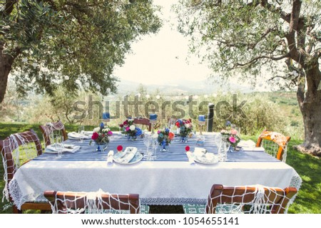 Wedding decoration open air choice image wedding dress decoration open air dinner stock images royalty free images vectors wedding decoration in a marine style dinner junglespirit Image collections