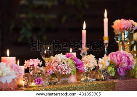 Wedding decoration in the restaurant - stock photo