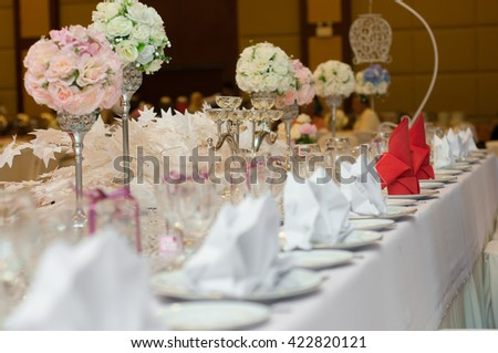wedding decoration on a banquet table - stock photo