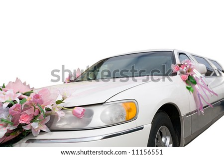 Wedding decoration on the hood of a automobile - stock photo
