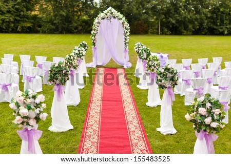 Wedding decoration. The wedding ceremony. - stock photo
