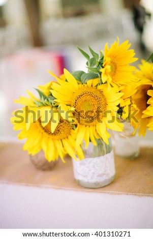 Wedding decoration with sunflowers.