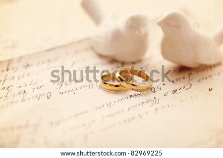 wedding decoration with wedding rings - stock photo
