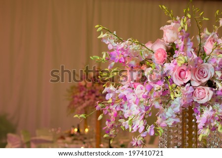 wedding decorations in pink colour. Wedding day - stock photo