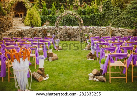Wedding decorations marriage decor rustic style bridal arch and flowers, selective and soft focus, series