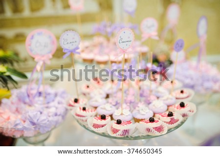 wedding dessert with delicious Cake pops and different sweets - stock photo