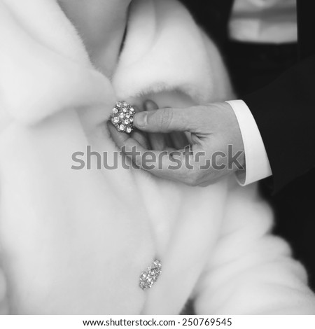 Wedding detail female accessory close-up - stock photo