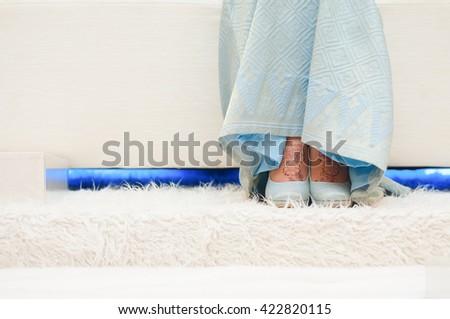 Wedding details. bride shoes - stock photo
