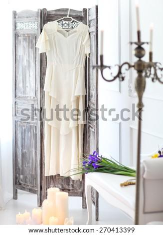 Wedding details with wedding dress. Bridal morning - stock photo