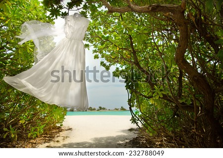 Wedding dress hanging in the green in the Maldives