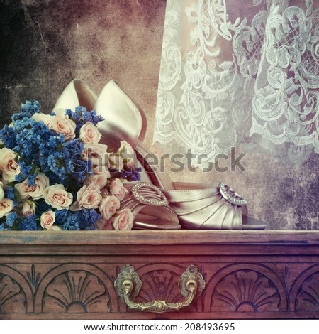 wedding dress  is reflected in a mirror  - stock photo