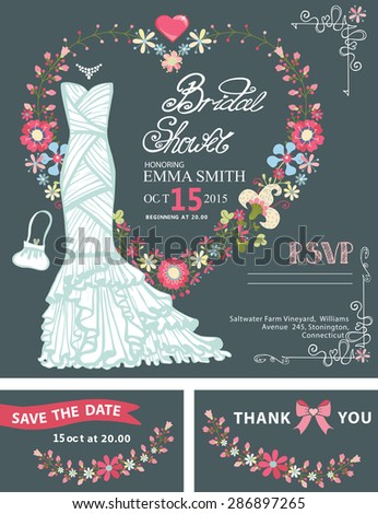 Wedding dress with flowers.Bridal shower template set.White dress ,floral wreath in , hand writing text,ribbon.Invitation,save date card, thank you card,RSVP.Cute vintage Illustration.Cyan background