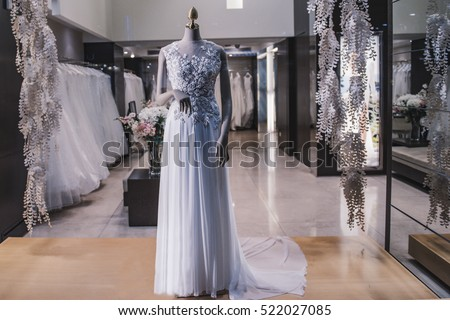 Wedding dresses in a luxury store