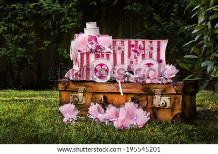 wedding favors in vintage style - stock photo